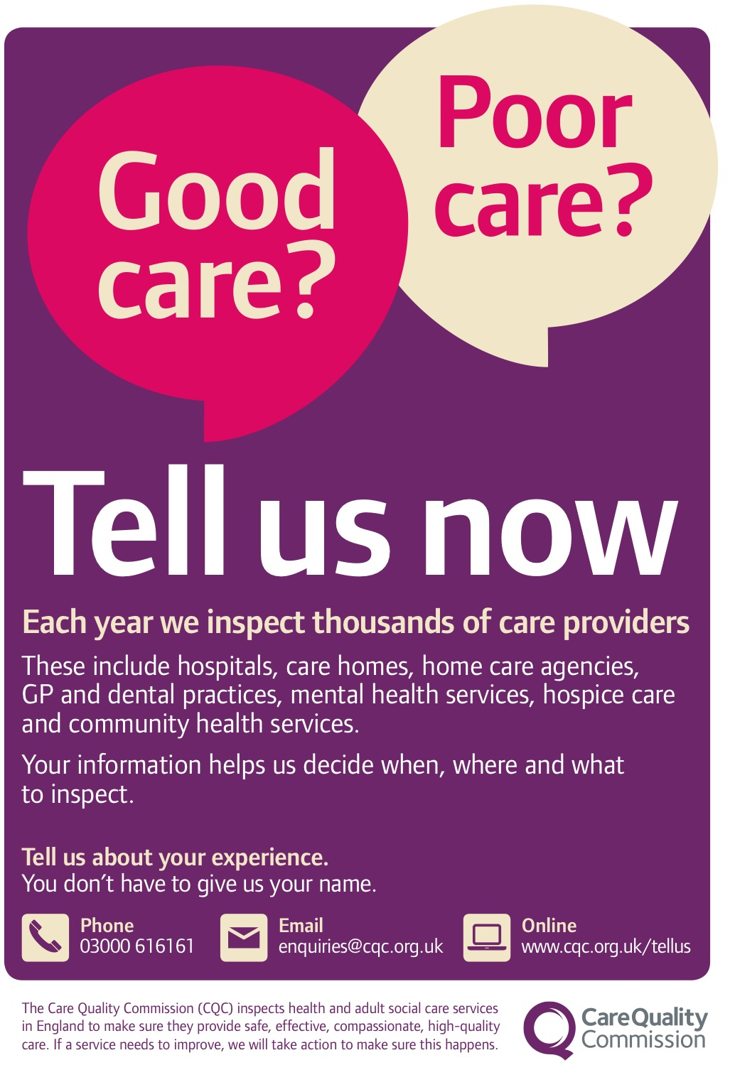 CQC tell us now poster